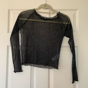 black sparkly long sleeve top from subdued